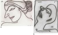 a) face of lady b) boy in agony (2 works) by jogen chowdhury