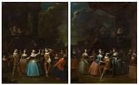 scène de carnaval devant un palais classique et arlequin au milieu d'élégantes costumées (pair) by jan baptist lambrechts