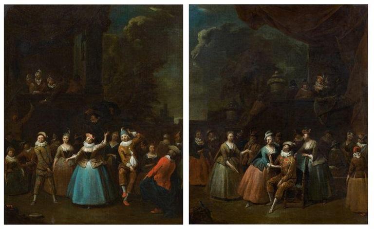 scène de carnaval devant un palais classique et arlequin au milieu délégantes costumées pair by jan baptist lambrechts