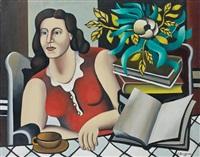 femme à la table et au livre by georges bauquier