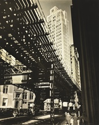 el, second and third avenue lines, hanover square and pearl street by berenice abbott