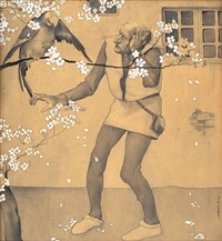 old man pecked by parrot on cherry blossom tree by fanny y. cory