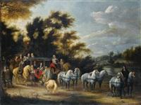 halte de carosse près d'un bois by adam frans van der meulen