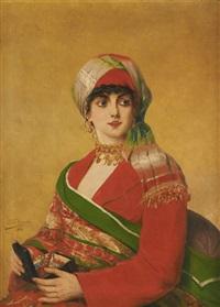 jeune orientale au coffret à bijoux by léon herbo