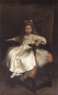portrait study of young girl seated in an armchair by hugh de twenebrokes glazebrook