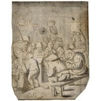 a schoolmaster teaching peasant children by gerrit lundens
