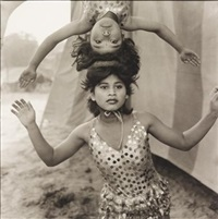 acrobats rehearsing their act at the great golden circus, ahmedabad, india by mary ellen mark