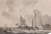 marine par mer calme (+2 others; 3 works) by johannes christiaan schotel