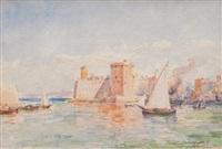 voilier sortant du vieux-port de marseille by joseph cabasson