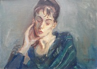 untitled (lady portrait) by moses soyer