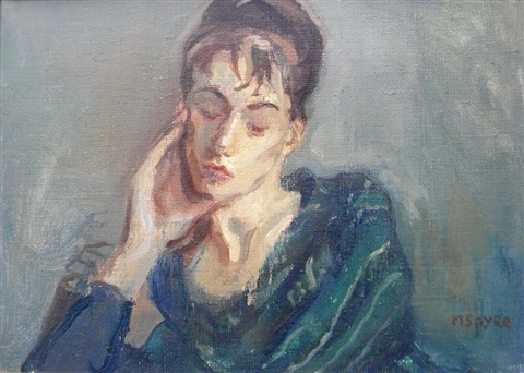 untitled lady portrait by moses soyer