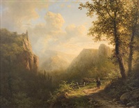 walker in the mountains by alexander joseph daiwaille