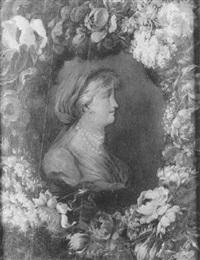 buste de femme de profil dans une guirlande de fleurs by benito espinos