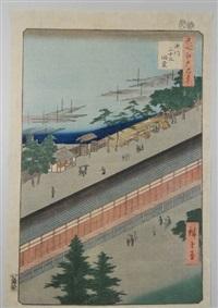 série des 100 vues célèbres d'edo. planche 71 - fukagawa sanjusangend?. le pavillon sanj?sangen-d? à fukagawa by ando hiroshige