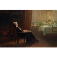 dutch woman reading by john wycliffe lewis forster
