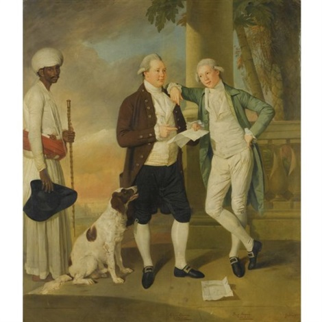 portrait of claud alexander with his brother boyd attended by an indian servant by johann joseph zoffany