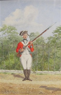 troops of the 60th rotal american regiment (a grenadier; a private; and an officer (set of 3) by reginald augustus wymer