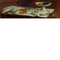 still life of bread, mushrooms, knife and a bowl of fruit on a table top by adolf ferdinand konrad