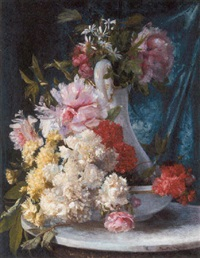 summer flowers in a glass pitcher and bowl by ricardo martí aguiló