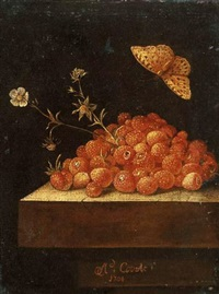 strawberries in a pot on a stone ledge with a butterfly by adriaen s. coorte