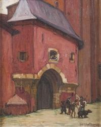 troubadours à l'entrée d'un château by jean-gabriel domergue