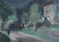 walking home/ tree by the sea (double sided) by john whorf