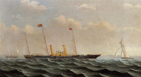 crossing the solent in her majestys yacht alberta also racing yacht ibex bound for ryde in a fresh breeze july 1887 by wl iddes