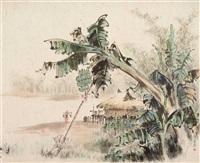 südchinesische landschaft am shuili-fluss mit strohhütte und bananenstaude by li ailan