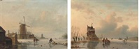 skaters on a dutch waterway by a windmill (+ skaters by a riverside cottage; pair) by jacobus freudenberg