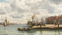 a busy harbour scene by david farquharson
