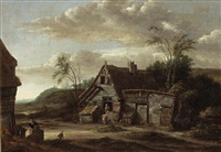 a dune landscape with a farm with a woman and a child at a door by salomon rombouts