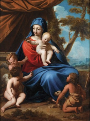 la sainte famille avec saint jean baptiste by nicolas mignard
