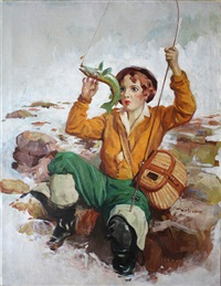 woman trying to unhook a fish (magazine cover illus.) by william frederick foster