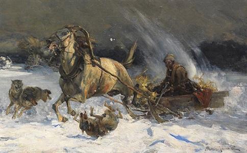 Angriff Der Wölfe By Alfred Von Wierusz Kowalski On Artnet