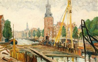 piling at the montelbaanstoren in amsterdam by claas prins