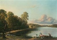 couple et deux chiens devant une barque by saintin françois jozan