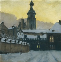 winter evening in lvov by odo (otton) dobrowolski