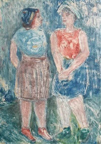two women standing in a field by israel isaac lipschitz