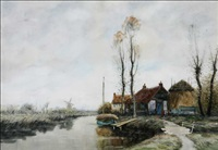 dutch cottage in river landscape by george linton herdle