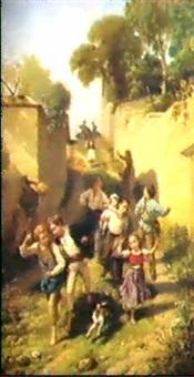 les enfants jouant dans la ruelle by charles auguste romain lobbedez