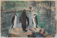 penguins; together with a nude (double-sided) by pan yuliang