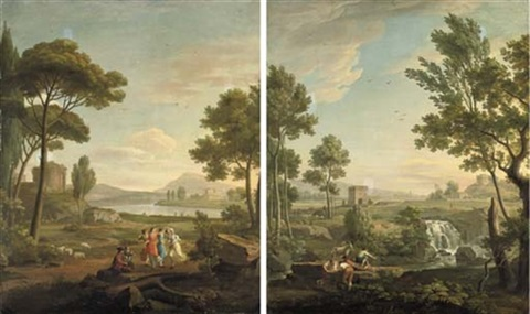 an italianate river landscape with a ruin with musicians and dancers in the foreground an italianate landscape with young boys fishing near a cascade a castle beyond pair by carlo labruzzi