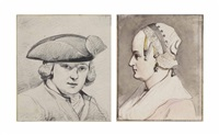 portrait of a man wearing a tricorn hat, bust-length, perhaps a self-portrait (+ portrait of a woman; 2 works) by jurriaan andriessen