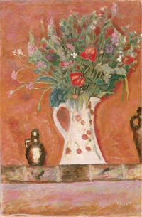 bouquet de cheminee (also known as fleurs sur une cheminee) by pierre bonnard