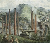 industrielandschaft - feldberg bei freital (+ männerporträt, verso) by fritz junghans
