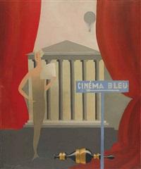 cinéma bleu by rené magritte