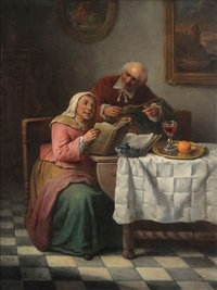 scène domestique avec couple à la lecture by félix van den eycken
