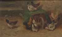 chickens on a wheelbarrow by jules-g. bahieu
