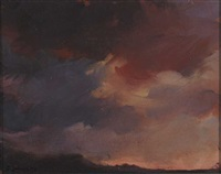 red donegal sky (+ 3 others, watercolor; set of 4) by tracey quinn
