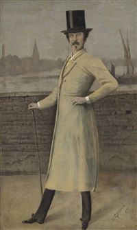 portrait of james mcneill whistler, standing, full-length by walter greaves
